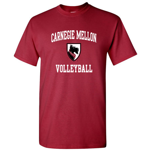 Carnegie Mellon University Tartans Arch Logo Volleyball Short Sleeve T Shirt - Cardinal