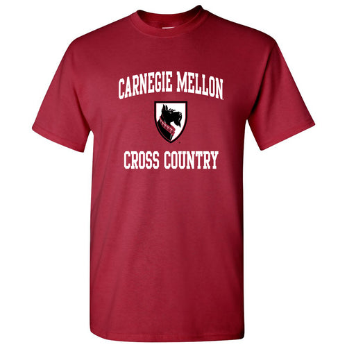 Carnegie Mellon University Tartans Arch Logo Cross Country Short Sleeve T Shirt - Cardinal