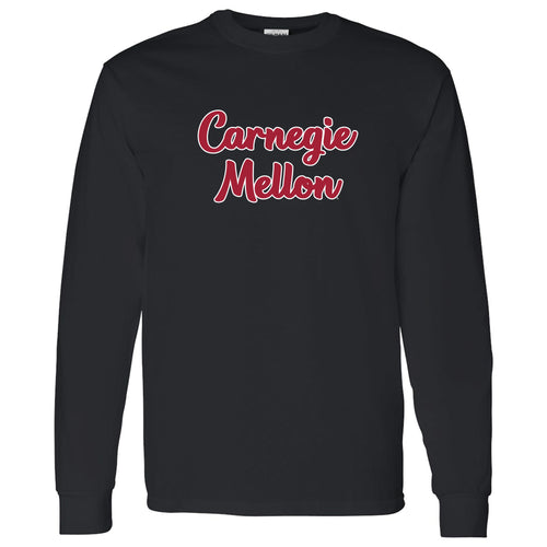 Carnegie Mellon Tartans Basic Script Cotton Long Sleeve T Shirt - Black