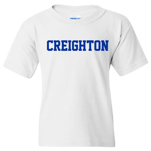 Creighton University Bluejays Basic Block Youth Short Sleeve T Shirt - White