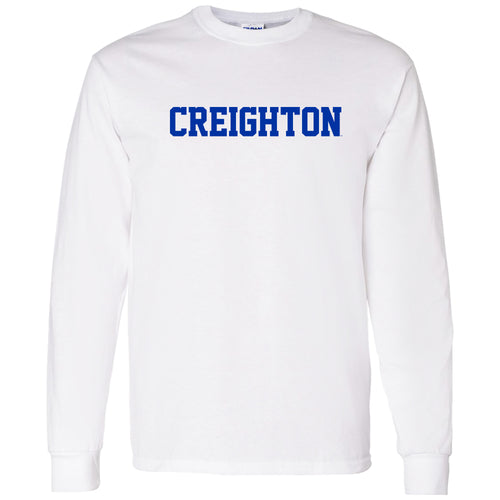 Creighton University Bluejays Basic Block Long Sleeve T Shirt - White