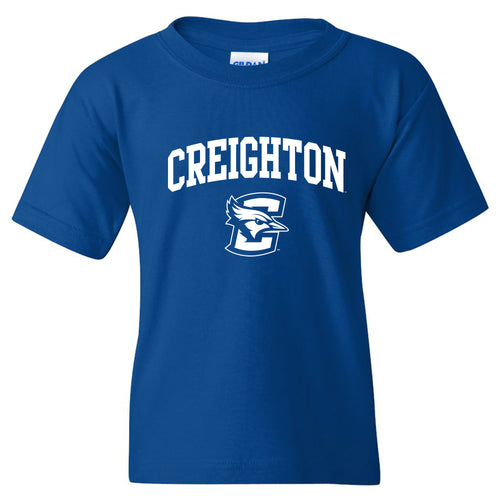 Creighton University Bluejays Arch Logo Youth Short Sleeve T Shirt - Royal