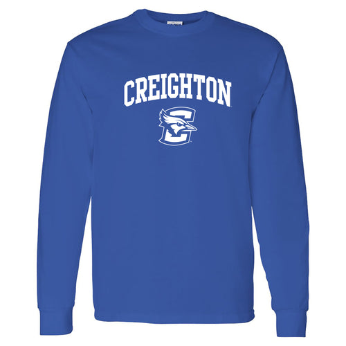 Creighton University Bluejays Arch Logo Long Sleeve T Shirt - Royal