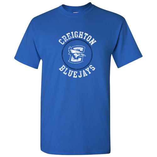 Creighton University Bluejays Distressed Circle Logo Short Sleeve T Shirt - Royal