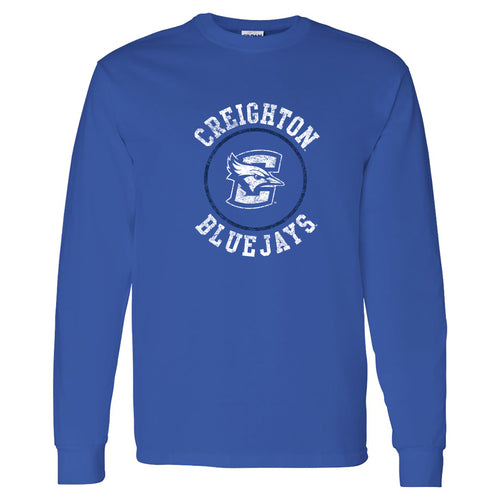 Creighton University Bluejays Distressed Circle Logo Long Sleeve T Shirt - Royal