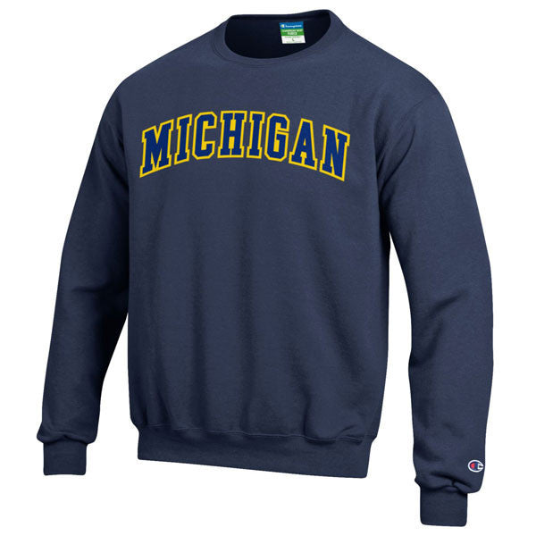 Two Colored Michigan Arch Champion Tackle Twill Powerblend Crew Sweatshirt - Navy