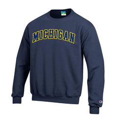 Champion Michigan Tackle Twill Reverse Weave Crew - Navy