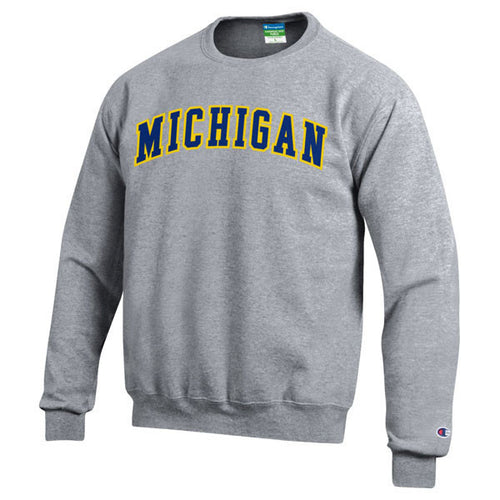 Two Colored Arch Michigan Champion Tackle Twill Powerblend Crew Sweatshirt - Heather Grey