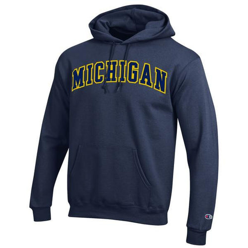 Two Colored Arch Michigan Champion Tackle Twill Reverse Weave Hood - Navy