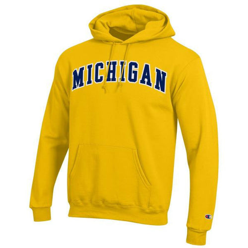 Two Colored Arch Michigan Champion Tackle Twill Powerblend Hoodie - Yellow