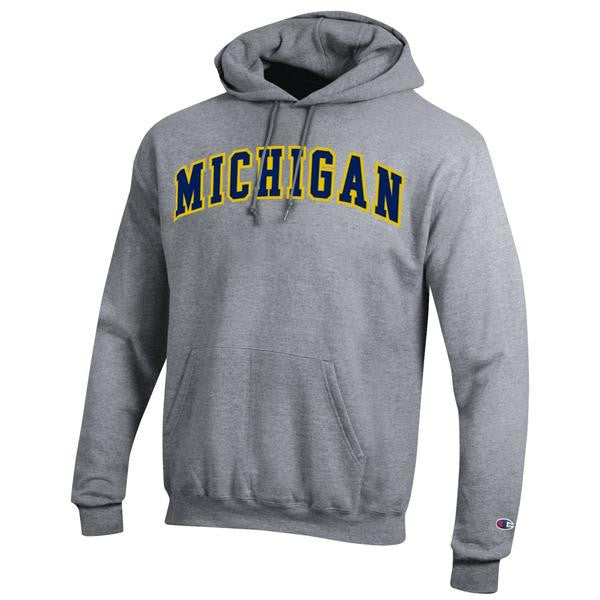 Two Colored Arch Michigan Champion Tackle Twill Powerblend Hood - Heather Grey