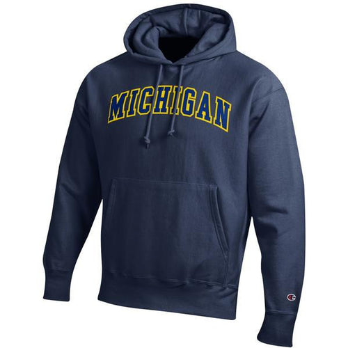 Two Colored Arch Michigan Champion Tackle Twill Powerblend Hoodie - Navy