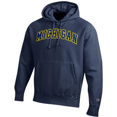 Champion Michigan Tackle Twill Powerblend Hood - Navy