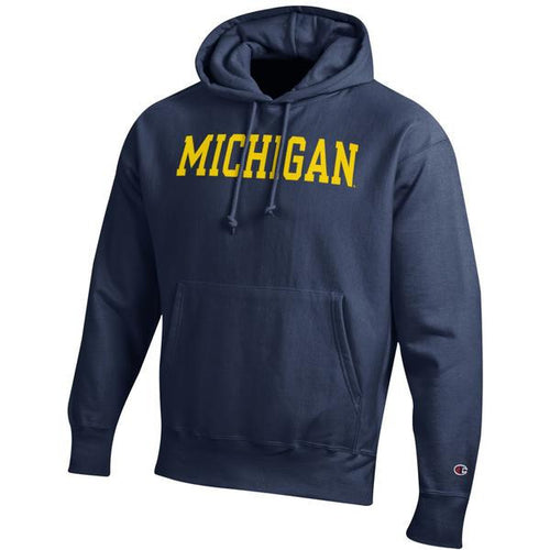 Basic Block University of Michigan Champion Reverse-Weave Hooded Sweatshirt - Navy