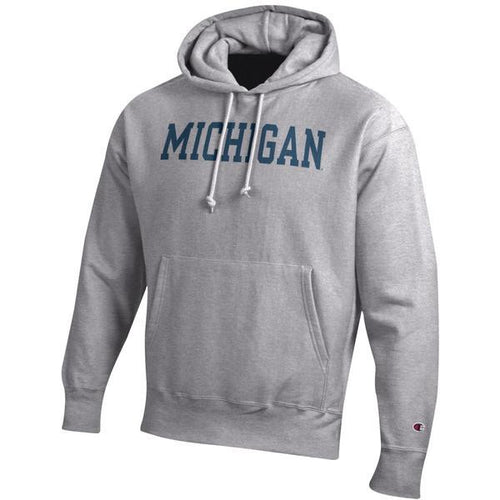 Basic Block University of Michigan Champion Reverse-Weave Hooded Sweatshirt - Oxford