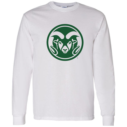 Colorado State University Ram Head Logo Long Sleeve T Shirt - White
