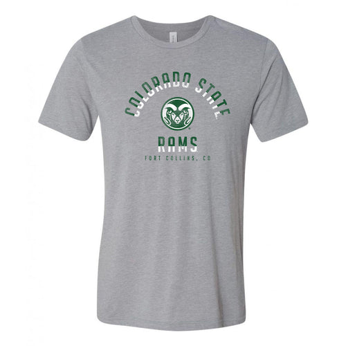 Colorado State University Rams Division Arch Canvas Triblend Short Sleeve T Shirt - Athletic Grey