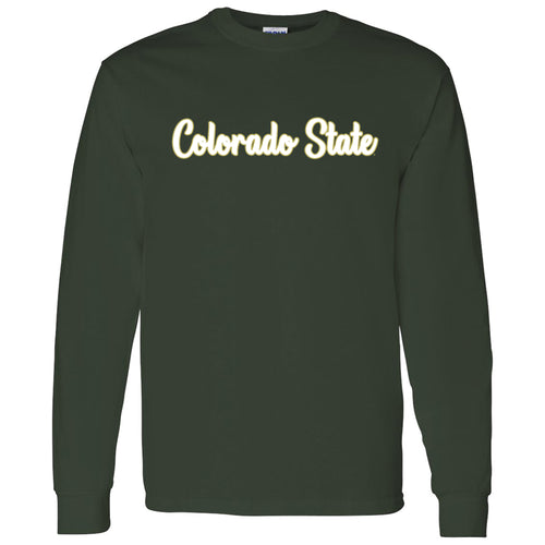 Colorado State University Rams Basic Script Cotton Long Sleeve T Shirt - Forest