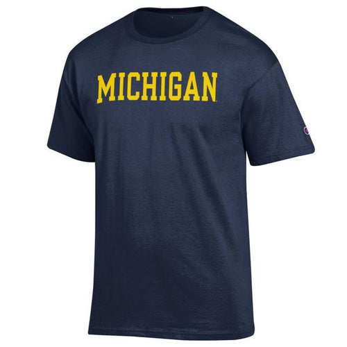 Basic Block University of Michigan Champion Cotton Polyester Tee - Navy