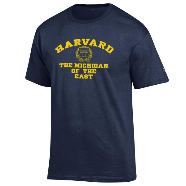 Harvard Tee University of Michigan Champion Cotton Short Sleeve T Shirt  - Navy