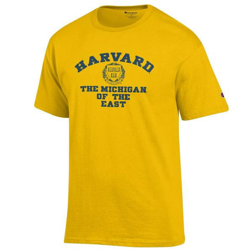 Harvard University of Michigan Champion Cotton Short Sleeve T Shirt - Yellow