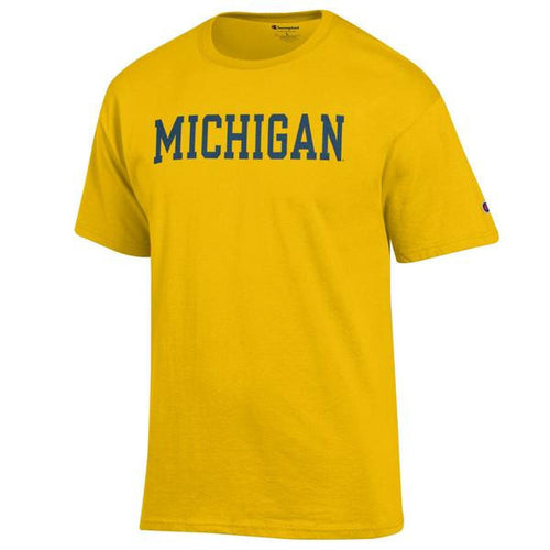 Basic Block University of Michigan Champion Short Sleeve T Shirt - Yellow