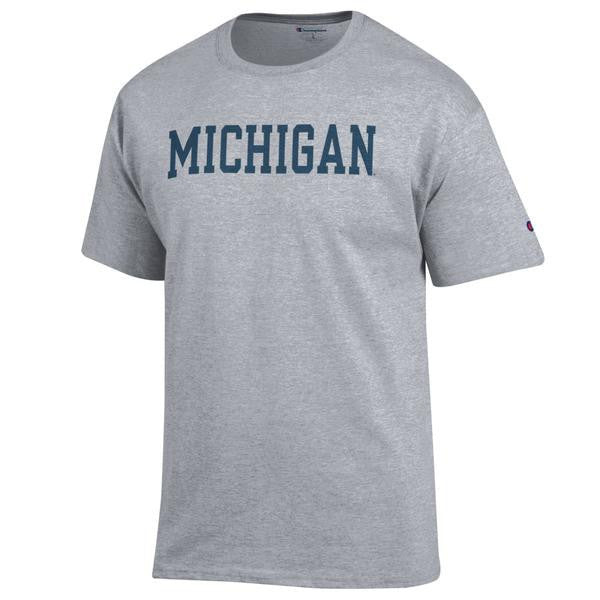 Basic Block University of Michigan Champion Short Sleeve T Shirt - Oxford