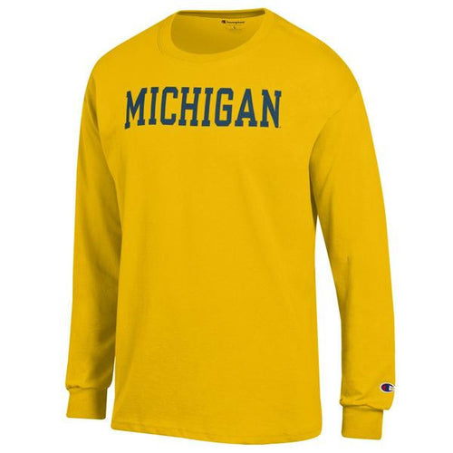 Basic Block University of Michigan Champion Long Sleeve T Shirt - Yellow