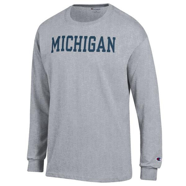Basic Block University of Michigan Champion Long Sleeve T Shirt - Oxford