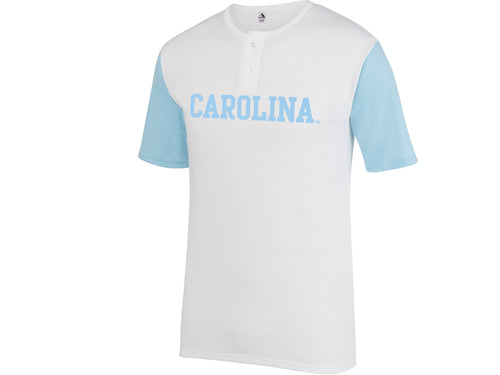Block Carolina Henley - White/Carolina Blue