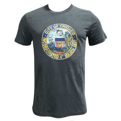 Chicago City Seal Canvas Short Sleeve T Shirt - Dark Grey