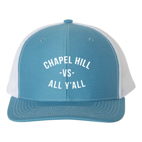 Chapel HIll VS All Yall Snapback Trucker Hat - Columbia Blue/White