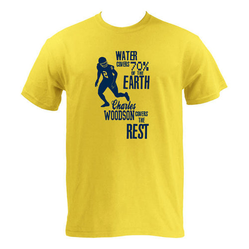 Charles Woodson Fact No. 2 University of Michigan Basic Cotton Short Sleeve T Shirt - Maize