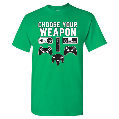 Choose Your Weapon Gamer Gaming Console Adult T-Shirt Basic Cotton - Irish Green