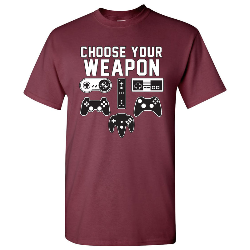 Choose Your Weapon Gamer Gaming Console Adult T-Shirt Basic Cotton - Maroon