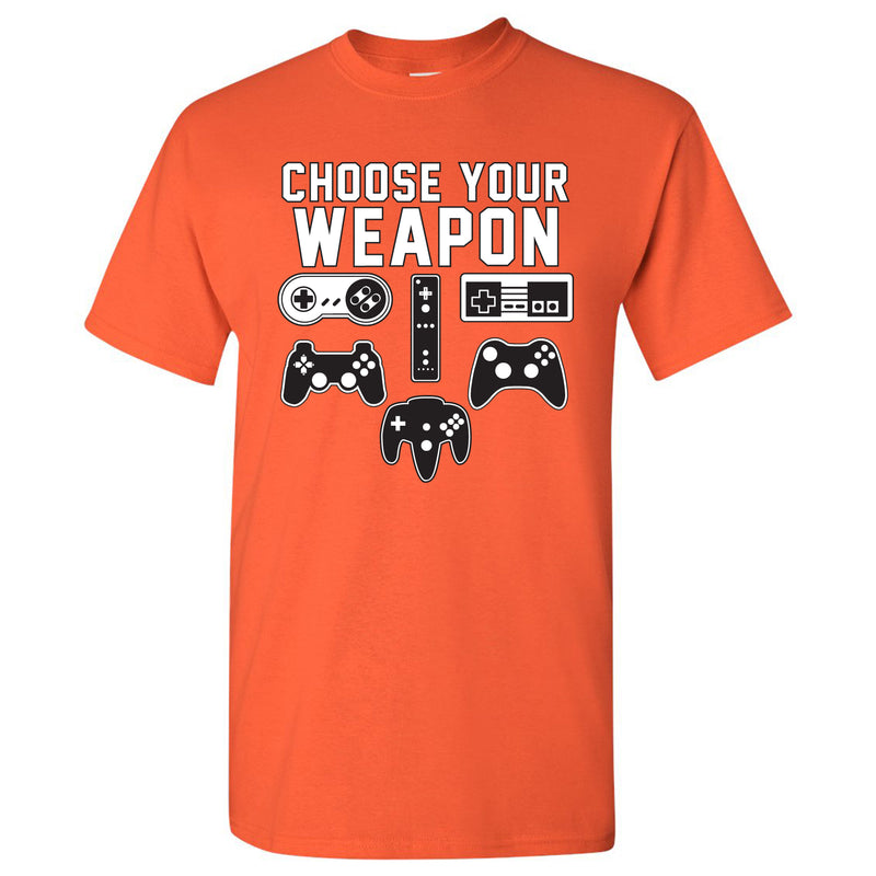 Choose Your Weapon Gamer Gaming Console Adult T-Shirt Basic Cotton - Orange