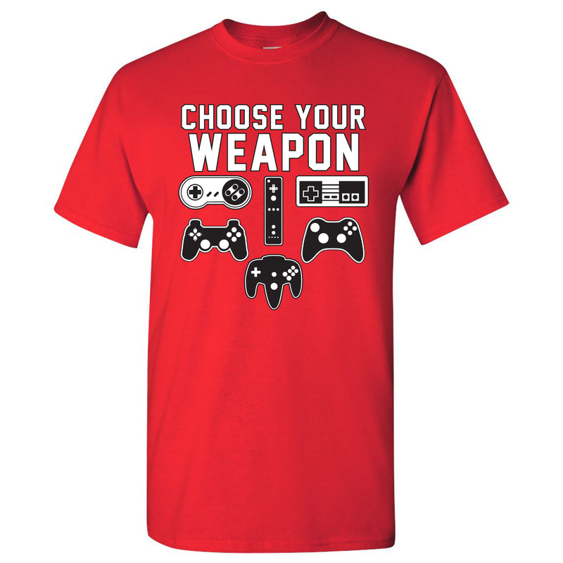 Choose Your Weapon Gamer Gaming Console Adult T-Shirt Basic Cotton - Red