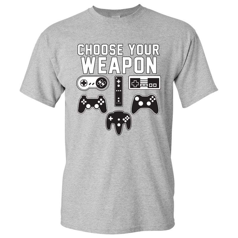 Choose Your Weapon Gamer Gaming Console Adult T-Shirt Basic Cotton - Sport Grey