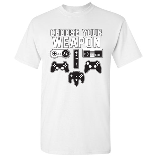 Choose Your Weapon Gamer Gaming Console Adult T-Shirt Basic Cotton - White