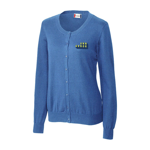DA2 Ladies Imatra Cardigan Sweater- Sea Blue - $50