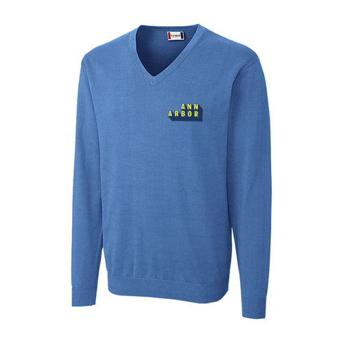 DA2 Men's Imatra V-neck Sweater - Sea Blue - $50