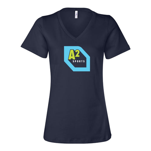 Destination Ann Arbor Sports Ladies Relaxed V-Neck Bella Canvas T Shirt - Navy