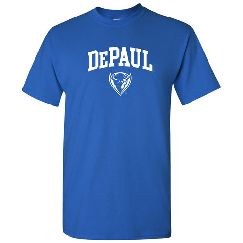 DePaul University Blue Demons Arch Logo Short Sleeve T-Shirt - Royal