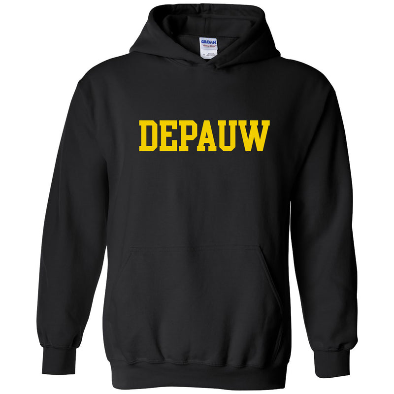 DePauw University Tigers Basic Block Heavy Blend Hoodie - Black