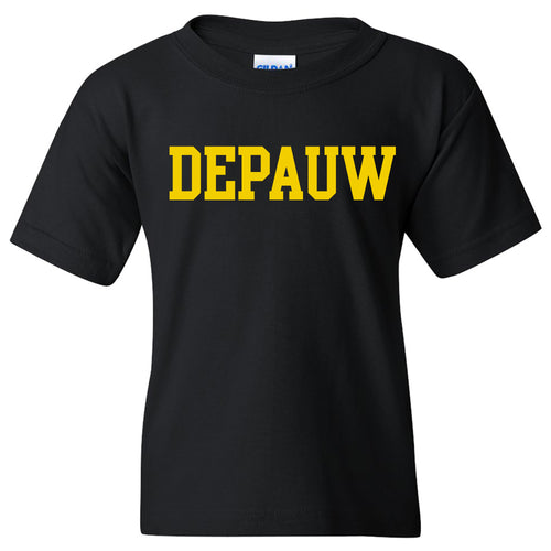DePauw University Tigers Basic Block Youth Short Sleeve T Shirt - Black
