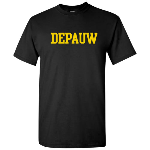 DePauw University Tigers Basic Block Short Sleeve T Shirt - Black