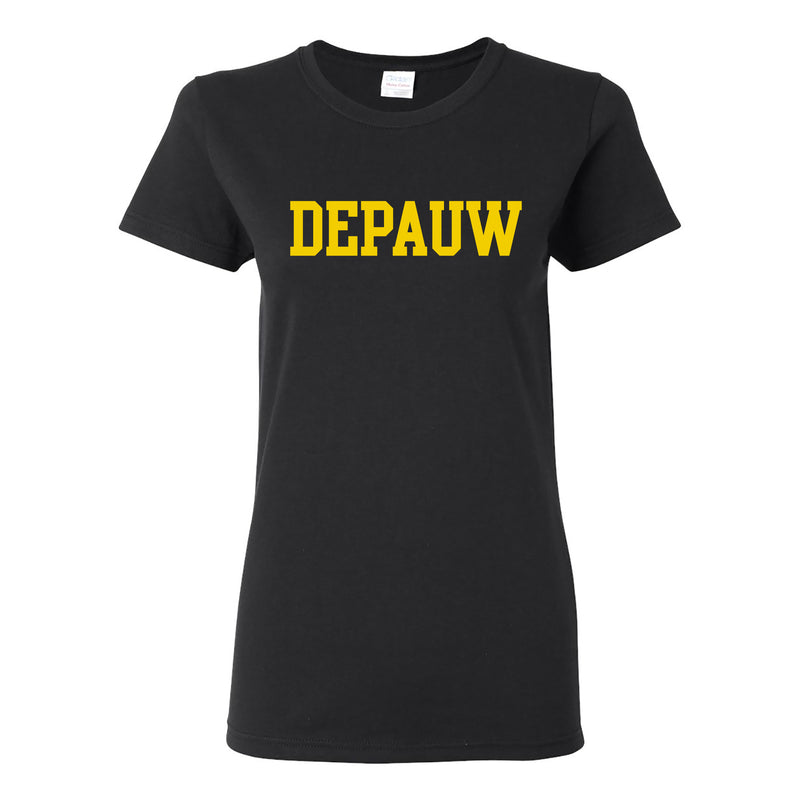 Depauw Basic Block Womens T Shirt - Black