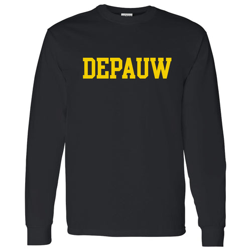 DePauw University Tigers Basic Block Long Sleeve T-Shirt - Black
