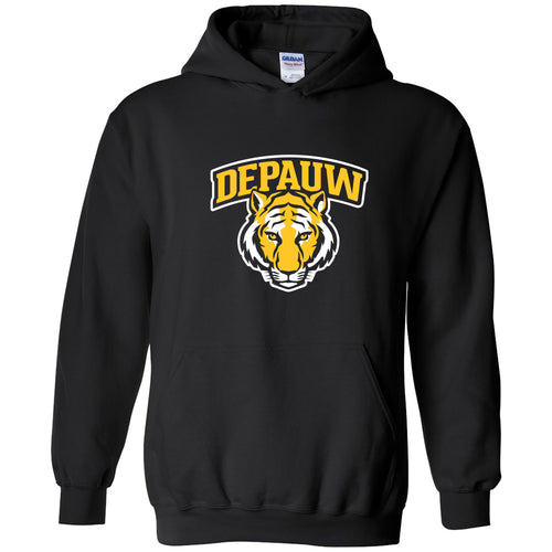 DePauw University Tigers Arch Logo Heavy Blend Hoodie - Black