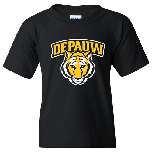 DePauw University Tigers Arch Logo Youth Short Sleeve T Shirt - Black